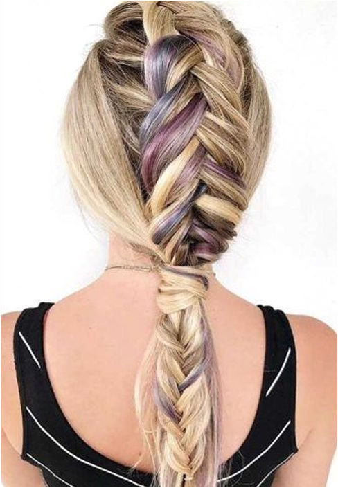 Gym Hairstyles Pinterest New attractive Rainbow Hair Color with Braids for Teenage Girls