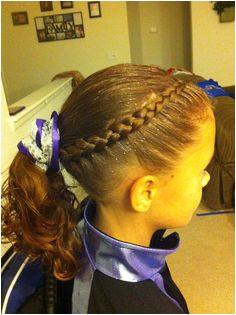 Dutch braid as a headband into a ponytail Shannon Miller · Gymnastics hairstyles