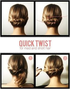 Simple hairstyles for work Quick Twist Quick and easy hairstyles for the lazy