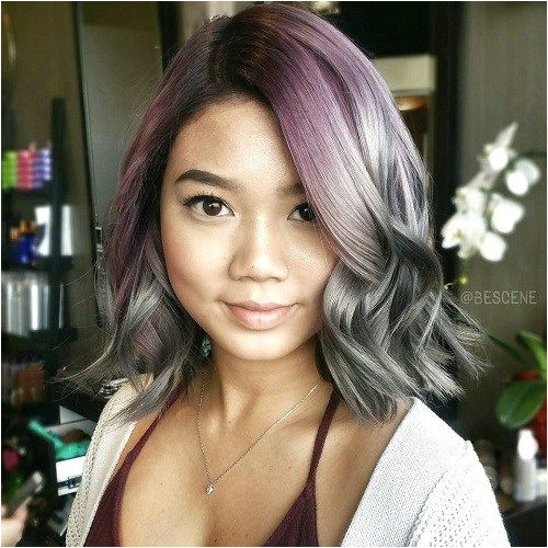 Purple To Gray Ombre Bob For Round Faces I like the cut not the gray