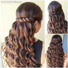My Work Prom Hairstyle Beautiful curls with a twisted braid can be nice for a Quince or Sweet 16 hairstyle Diana Kehlenbrink · School Dance Hairstyles