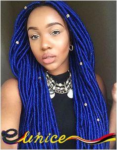 5pcs 24roots Pack Havana Mambo Dread Locs Braids Blue Soft Dread Crochet Braids Hair Kanekalon Dreadlock Extensions For Women in Bulk Hair from Hair