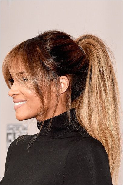 Hairstyles Bangs Ponytails Balayage Pony Tail Blonde Brunette Shiny Hair Bangs