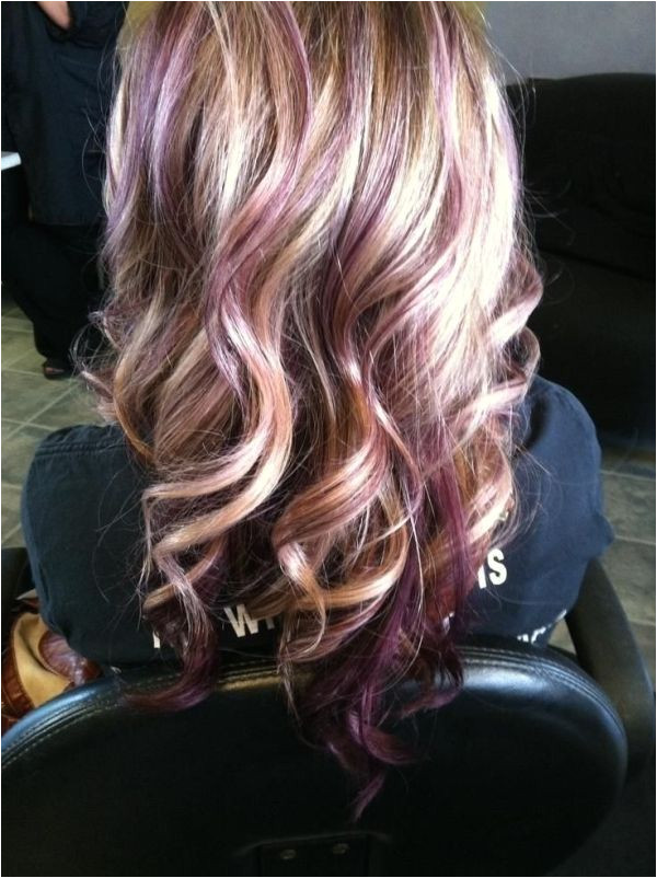 Blonde with purple lowlights by selma