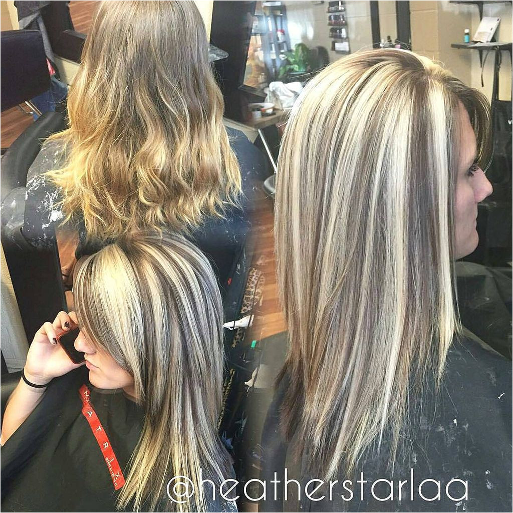 Heavy blonde highlight with a dark brown lowlight and unde…