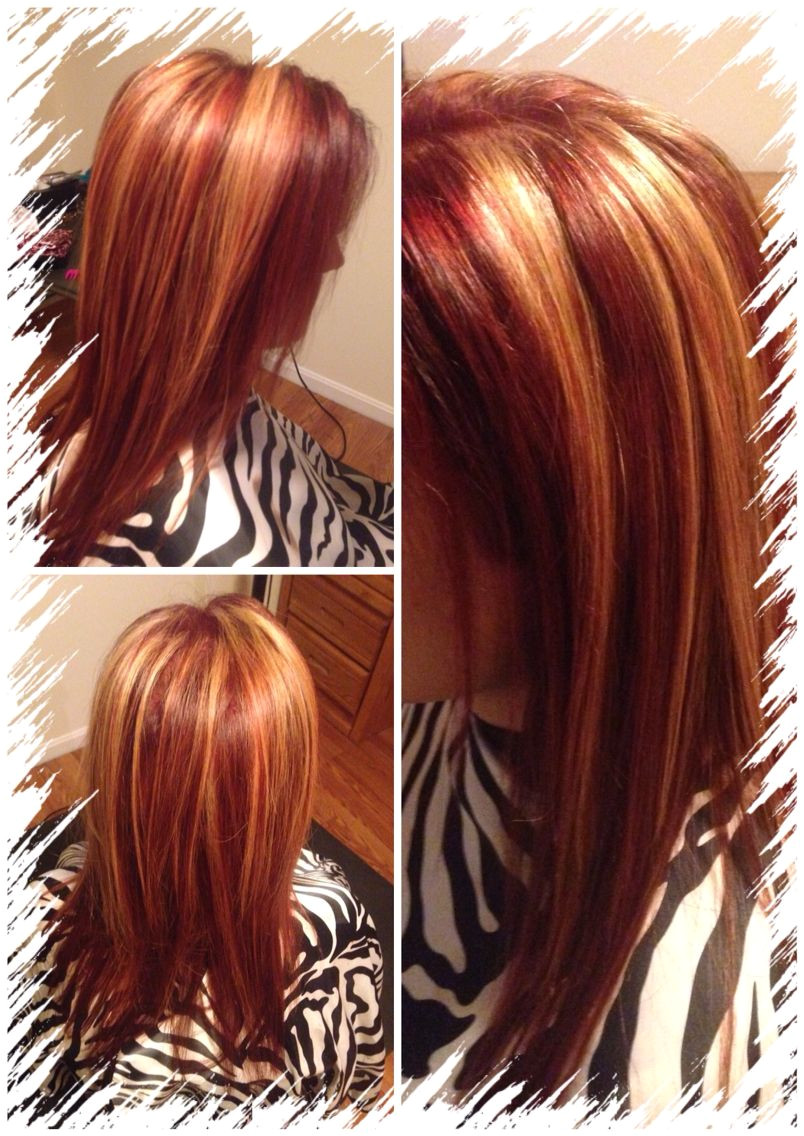 all over red with chunky blonde highlights