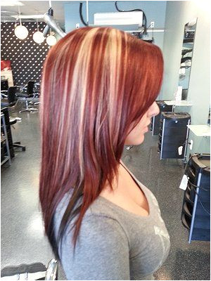 Cherry Bomb color with blond highlights I would never be brave enough but love this color
