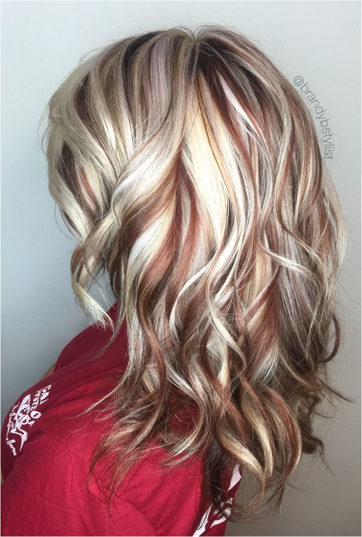 TerrificTresses loves to display radiant hair color as seen in this pin Creamy blondes with hints of auburn perfectly work a pretty mix of highlights