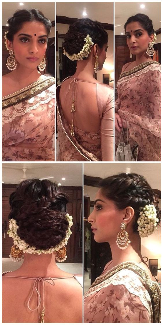 Sonam Kapoor s hairstyle is on fleek for a wedding Love the braided updo plete with gajra Makeup is on point too Indian Bollywood fashion