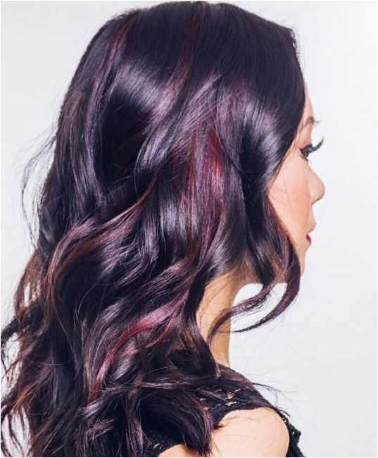 Glossy Black Waves with Muted Burgundy Highlights