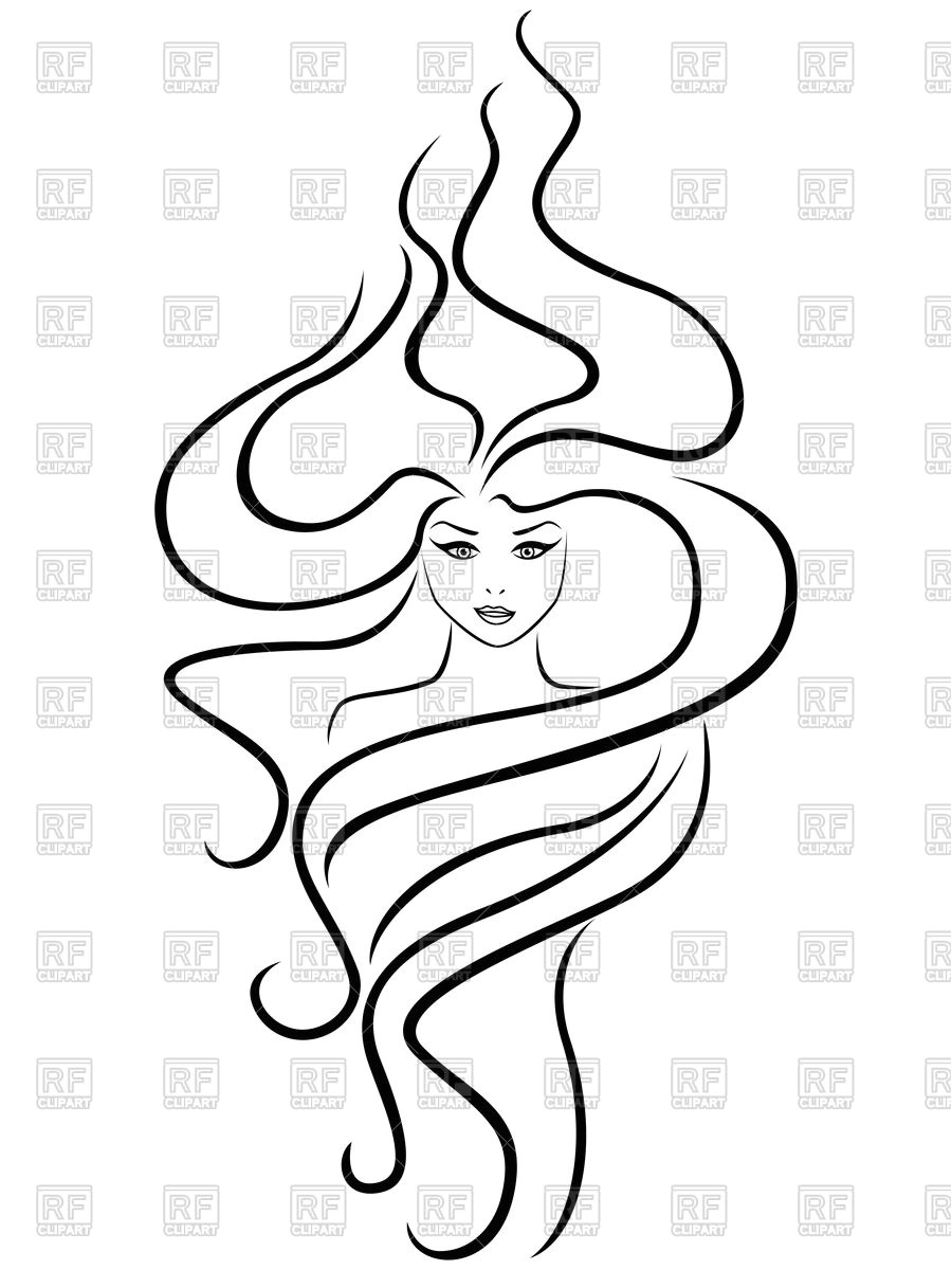 Abstract female head with extraordinary hairstyle Vector Image – Vector Artwork of People © natareal to Zoom