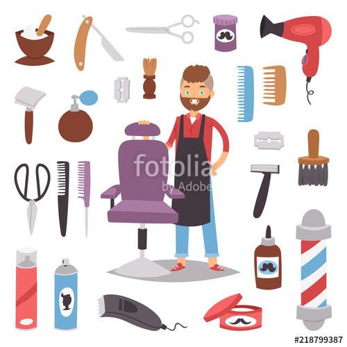 Barbershop hairdresser beard hipster man vector character making haircut saloon tools beauty barber shop hair care