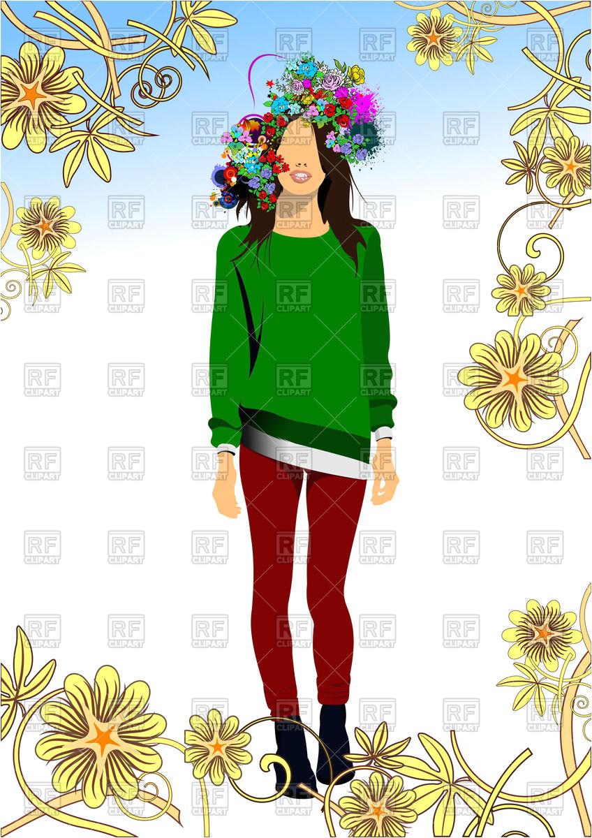 Girl teenager with floral hairstyle Vector Image – Vector Artwork of People © leonido to Zoom
