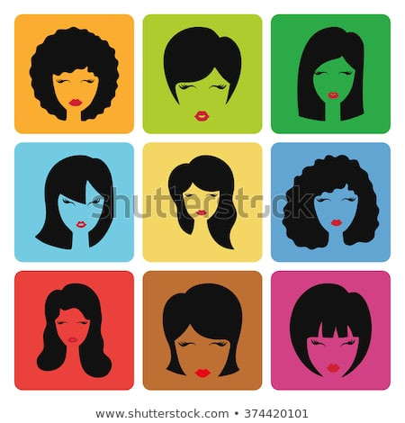 Hairstyle silhouette Woman girl female hair icon Beauty vector on Colorful