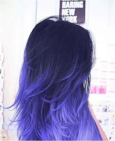 dip dye hair blue