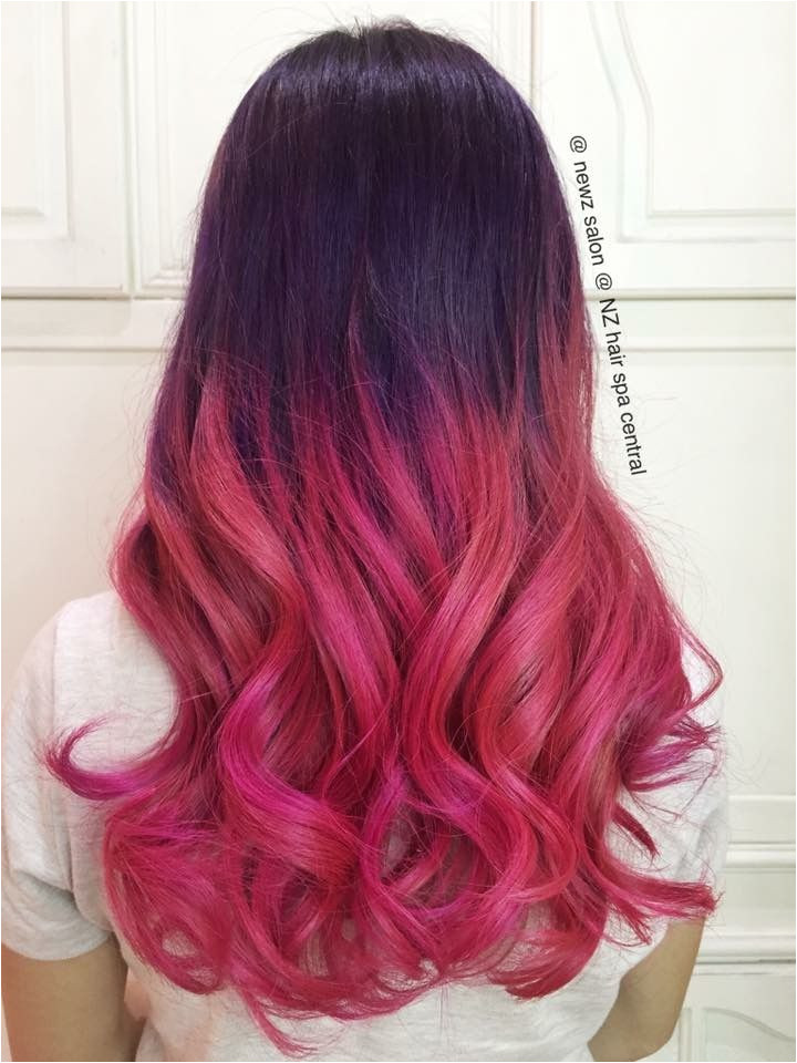 Opals purple dip dye fade pink balayage Ombre hair dye effect ideas Balayage Ombre dip dye Hair Color Newz salon & NZ hair spa central Johor Bahru Malaysia