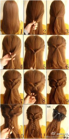 DIY Hair Beautiful Braid Hairstyle maybe a different kind of bow Diana Kehlenbrink · School Dance Hairstyles