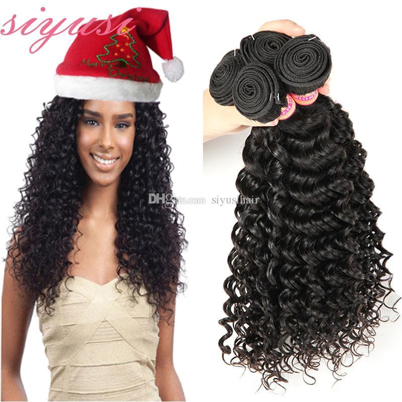 Brazilian Virgin Hair Deep Wave Human Hair Weave 4 Bundles Brazilian Virgin Hair Deep Curly Weave Brazillian Loose Wave Hair Weave Styles Black Hair Weave