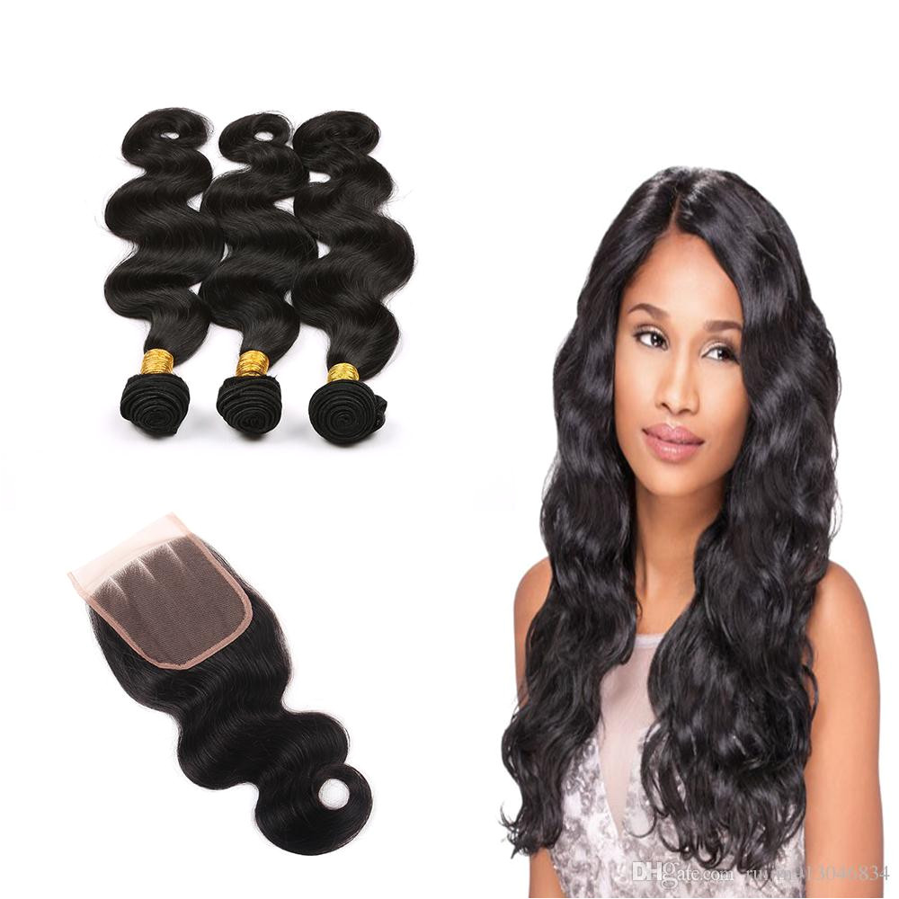 Malaysian Virgin Hair Grade 7a Malaysian Body Wave Virgin Remy Hair Set Free Part Lace Closure With 3 Bundles 100 Unprocessed Human Hair Weave Styles Black