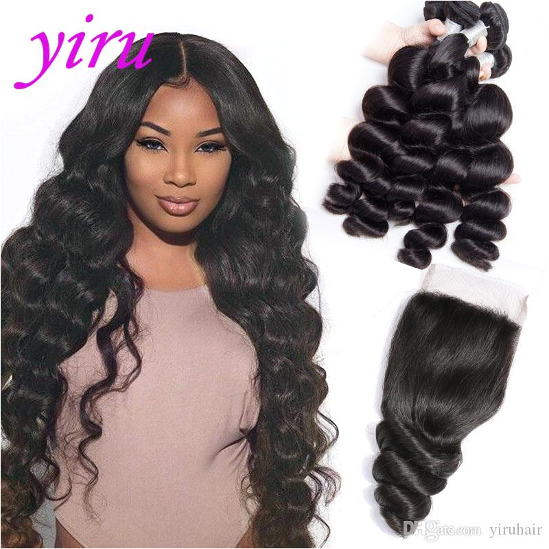 Mongolian Virgin Hair Extensions 4 Bundles With 4X4 Lace Closure Baby Hair Mink Bundles With Lace Closure Natural Color 8 28inch Mongolian Virgin Human Hair