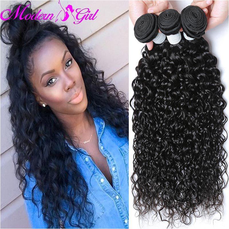 Peruvian Water Wave Weave Ocean Wave Virgin Hair 3 Bundles Peruvian Human Hair Extensions 1B Natural Wavy Curly Hair water Wave
