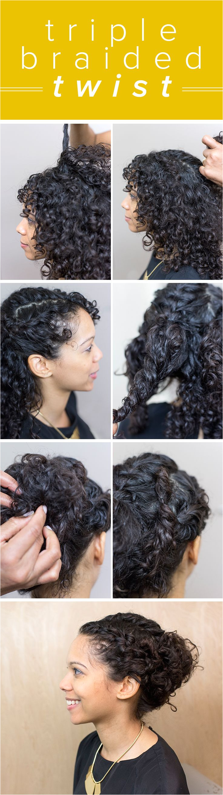 Embrace your curls with a triple braid twist This elegant braided updo is perfect for