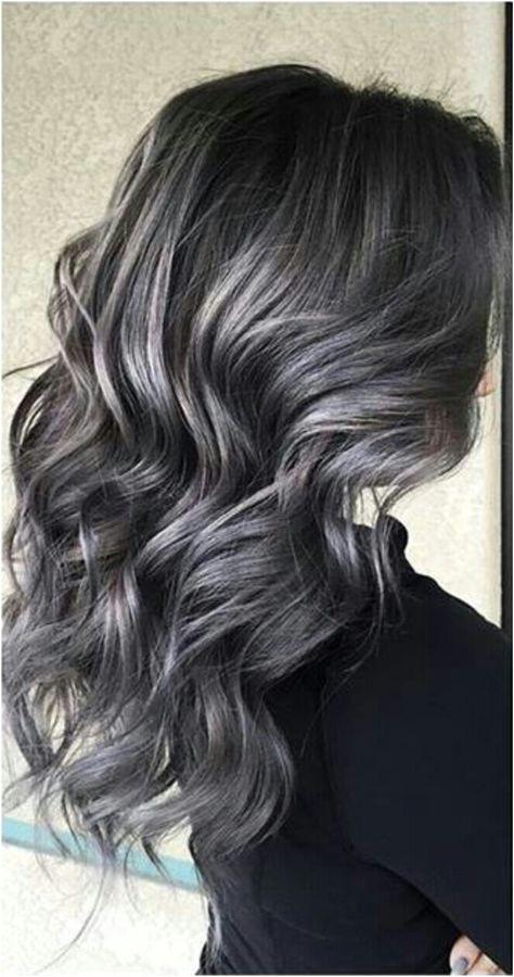 Soft smokey silver grey highlights on dark hair ♡