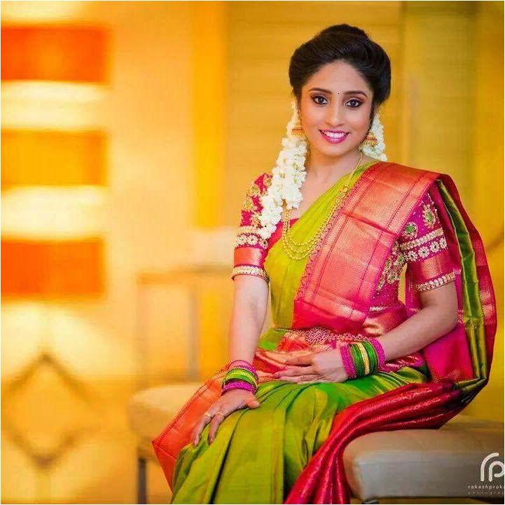 Green Kanjivaram Silk Saree 18k bridal wears