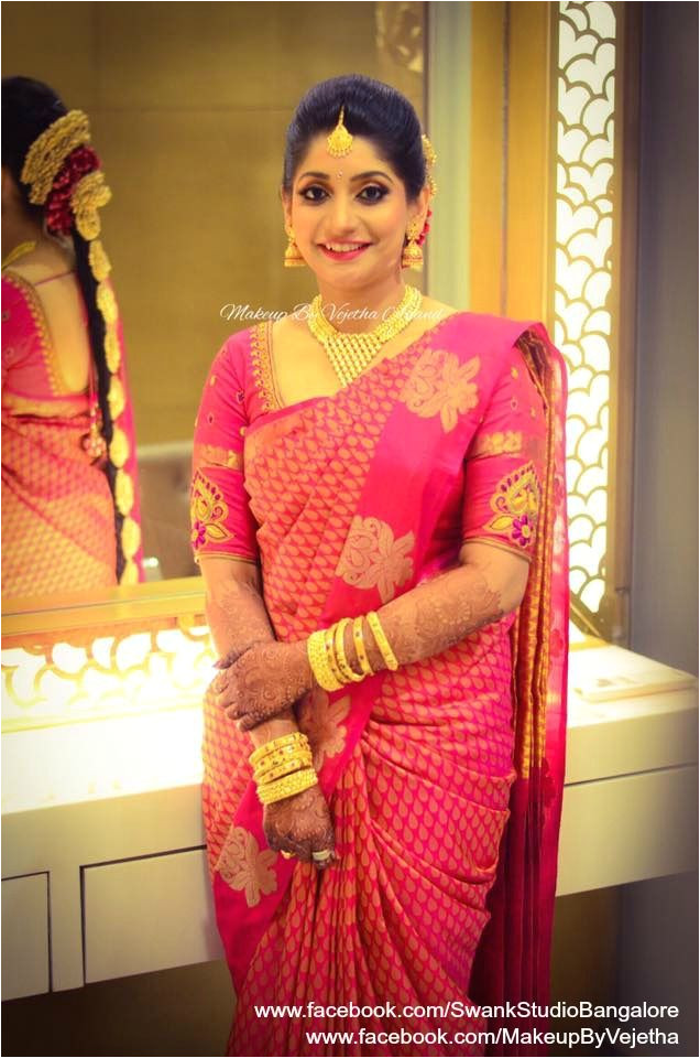 Our would be bride Prakruta looks gorgeous for her engagement ceremony Makeup and hairstyle