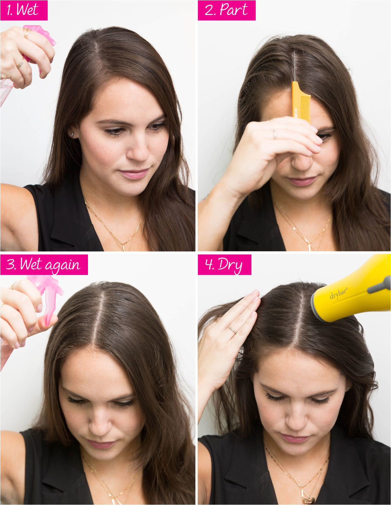 SWITCH UP YOUR PART USING WATER AND A BLOWDRYER If you have a severe centre part and want to wear a side part or vice versa first wet down the hair at