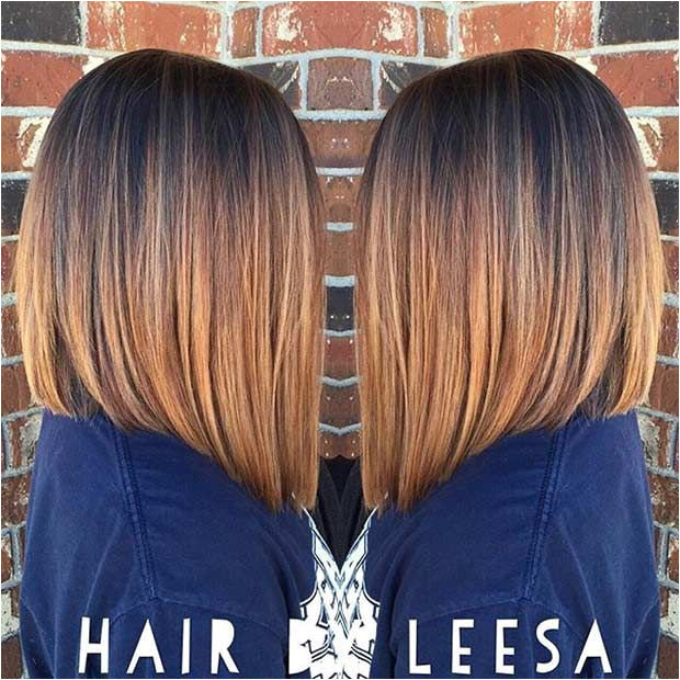 Caramel & Copper A Line Long Bob