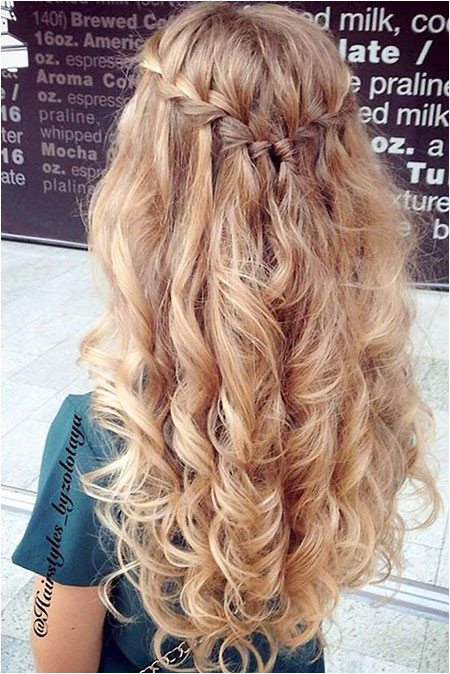 Prom Hairstyle Wedding Waterfall Prom Long Curly