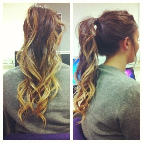 curled dip dye ponytail