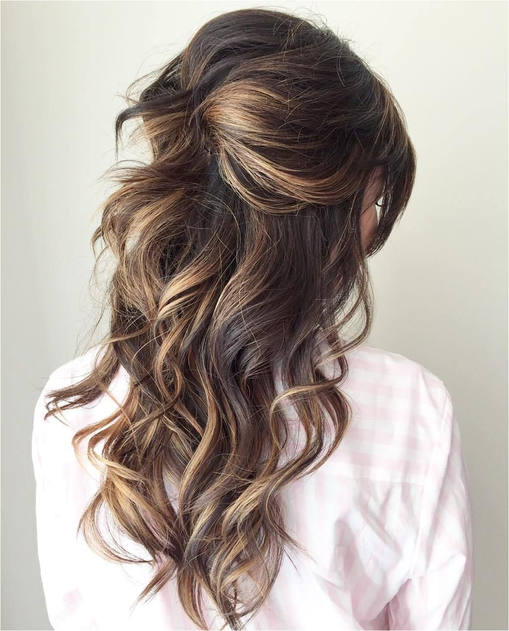 Curly Half Updo For Long Hair