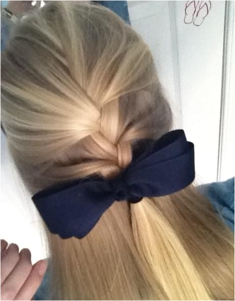 Pretty half up french braid Its Kind of a school girl hairstyle Its actually great for school
