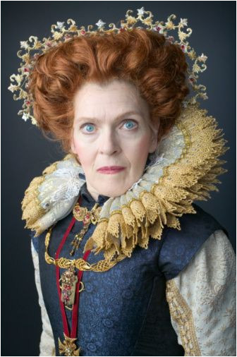 Mature woman wearing Elizabethan era queen s costume portrait