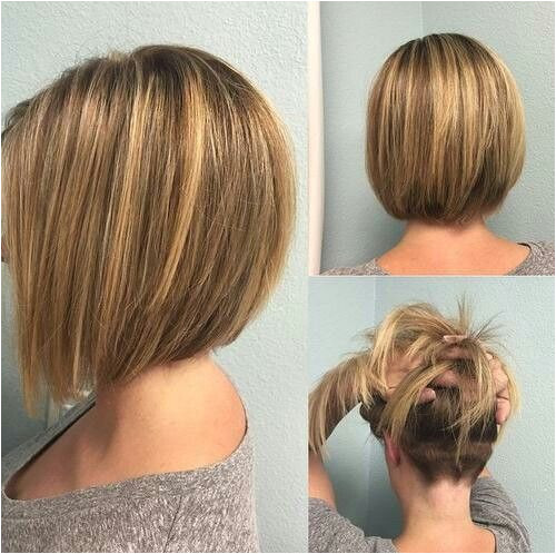 Bob Haircut with Unique Back View Make your hair lightweight and gorgeous with a slightly layered bob that features a surprise – nape undercut