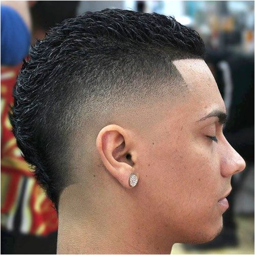 Burst Fade Mohawk with Line Up