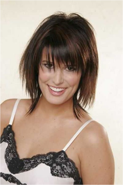 Brunette with medium razor cut hair