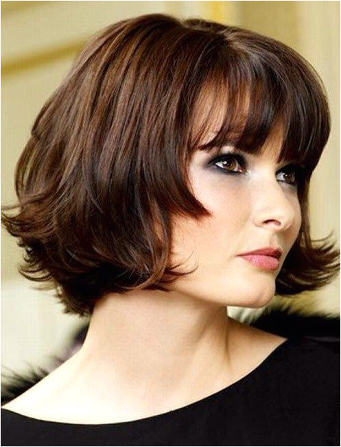 Cute Chin Length Hairstyles For Short Hair Bob With Blunt Bangs