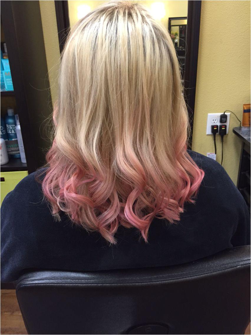 Rose gold dip dye hair