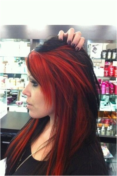 hair Red Hair With Black Tips Black Hair Red Tips Red Peekaboo Highlights