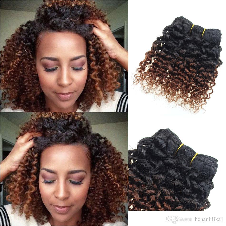 Brown Human Hair Extensions Kinky Curly Weave 6 Bundles 8 Inch Bob Ombre Brazilian Virgin Hair Weave 1b 33 Deep Curly Hair Products Best Weave Hair Best