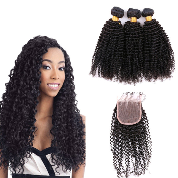 Free Part Lace Closure With Bundles Brazilian Kinky Curly Virgin Hair Weaves 3Pcs With Closure Curly