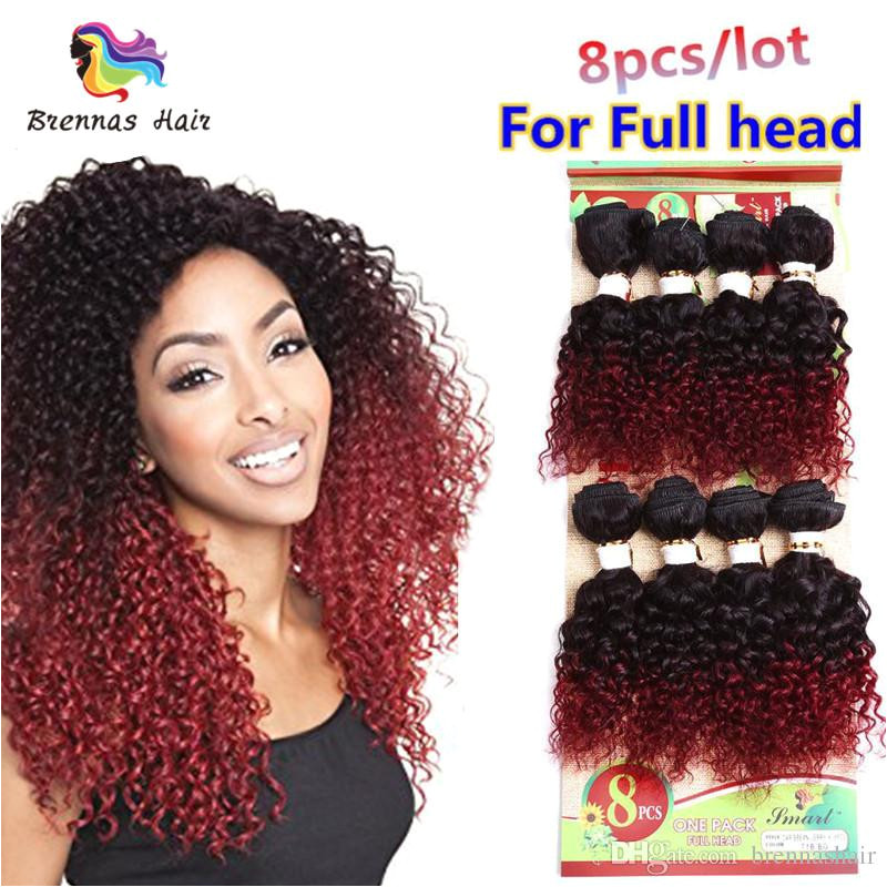 unprocessed kinky curly hair 8pcs pack Brazilian weave short 8inch ombre Burgundy weave Jerry curly hair bundles hair extension