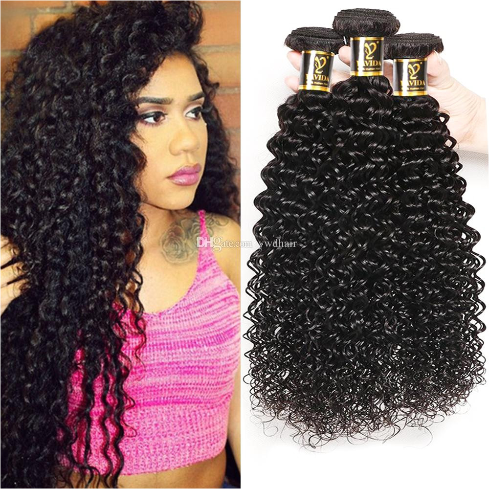 Yavida 8A Brazilan Kinky Curly Human Hair 3 Bundles Unprocessed Brazilian Hair Extensions Curly Hair Weave Natural Color Total 300g Natural Curly Hair Weave