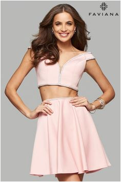 Faviana style 7865 is romantic and playful This two piece neoprene short dress
