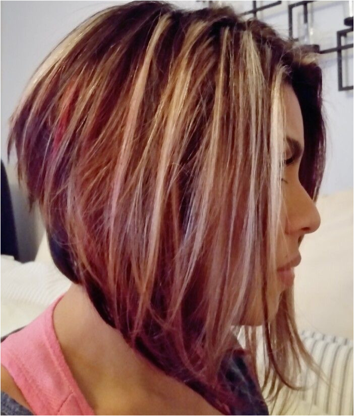 Angled bob with blonde highlights brown and red lowlights rfect Fall colors