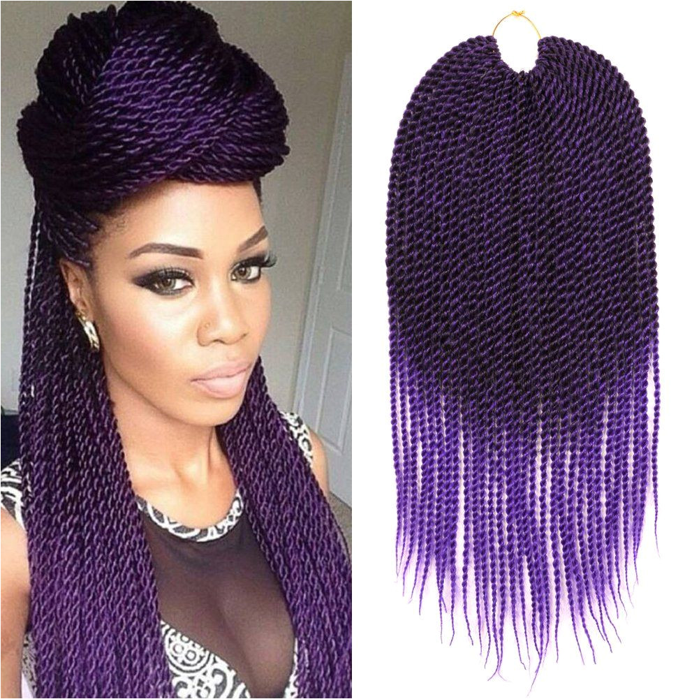 Dairess 6 Packs 18Inch 30Strands 75Gram Pack Senegalese Twist Hair Crochet Braids Hairstyles Crochet Twist Synthetic Braiding Hair Extensions Ombre Purple6