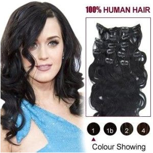 38 inch 7pcs Wavy Clip In Human Hair Extensions CLIP80